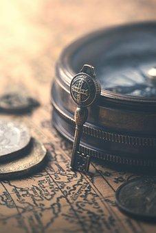 Key, Map, Compass, Coins, Vintage, Retro, Closeup