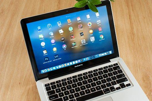 Laptop, Display Screen, Desk, Device, Macbook Pro