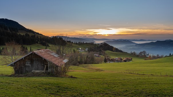 Cabin, Hut, Meadow, Mountains, Sunset, Nature, Sky