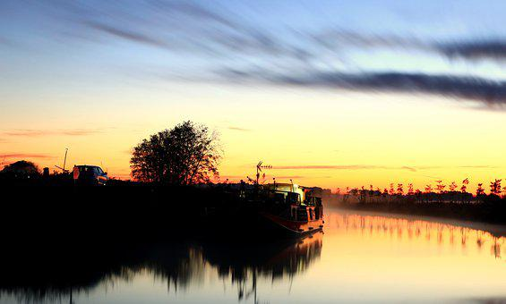 Sunset, Canal Du Midi, Peniche, Nature, Trees, Sky