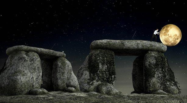 Fantasy, Night, Moon, Stones, Man, Slide, Magic, Dark