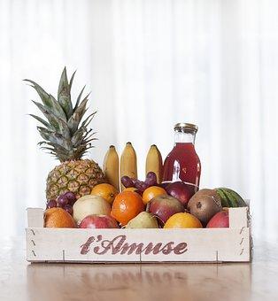 Fruit, Box, Basket, Apple, Pineapple, Bananas