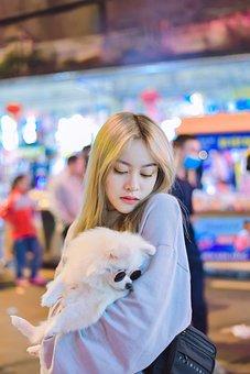 Girl, Pet, Dog, Puppy, Cute, Woman, Young Woman, Female