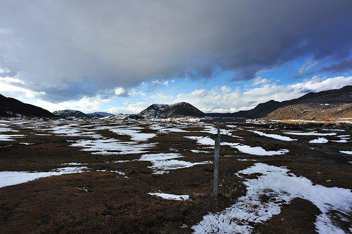 Mountains, Rocks, Snow, Wilderness, Grasslands, Sky