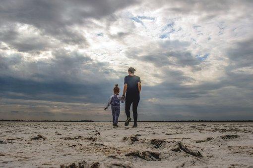 Mom, Child, Sand, Dunes, Desert, Salt Lake, Sky, Clouds