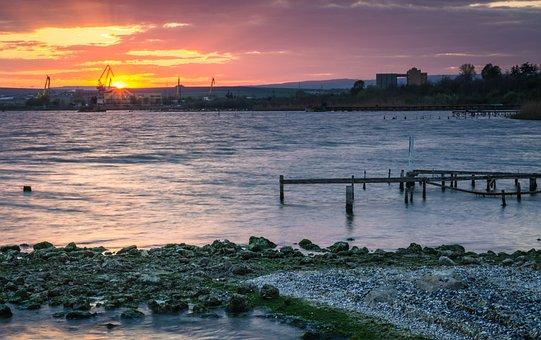 Coast, Sea, Ocean, Sunrise, Reflection, Sky, Water