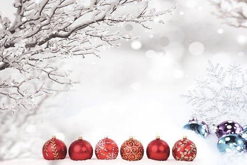 Ornaments, Snow, Tree, Snowflakes, Christmas, Greeting
