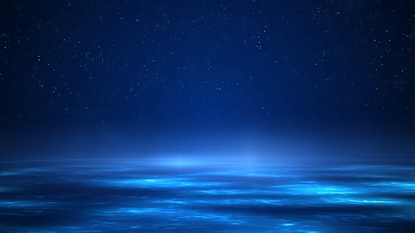 Stars, Particles, Light Beam, Water, Marine, Copy Space