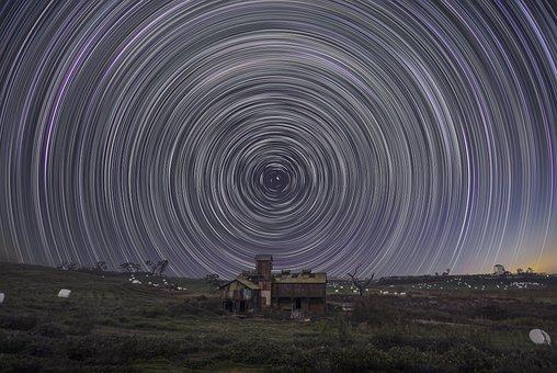 Cabin, Woods, Stars, Stars Pattern, Sky, Universe