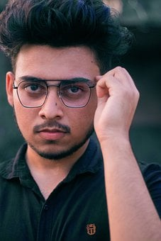 Man, Model, Glasses, Serious, Expression, Pose, Glass