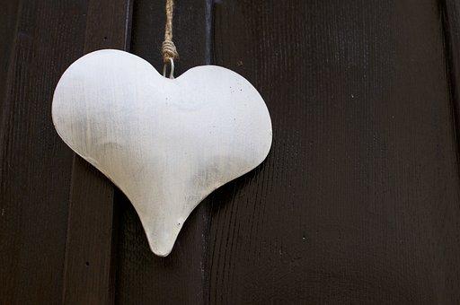 White, Heart, Shape, Decoration, Metal, Metallic, Love