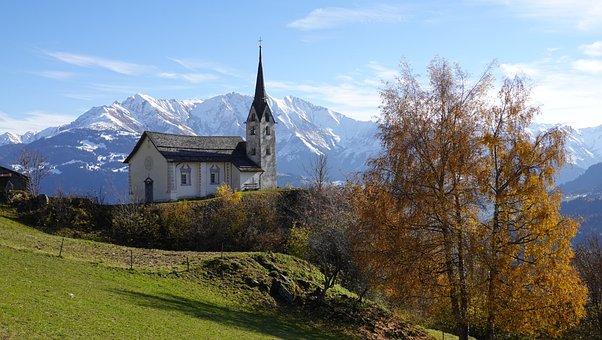 Church, Building, Mountains, Mountain Range, Landscape