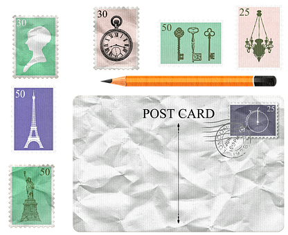 Post Card, Stamps, Pencil, Postage Elements, Post, Mail
