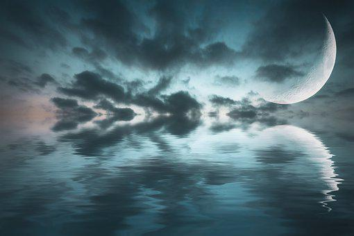 Fantasy, Sea, Moon, Reflection, Clouds, Sky, Night