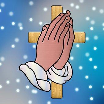 Cross, Praying Hands, Religious, Sky, Pray, Celestial