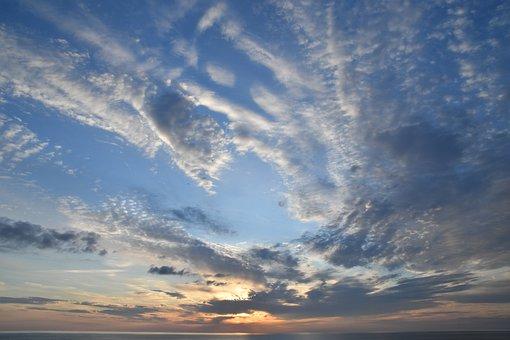 Sunset, Clouds, Sky, Sea, Horizon, Cumulus
