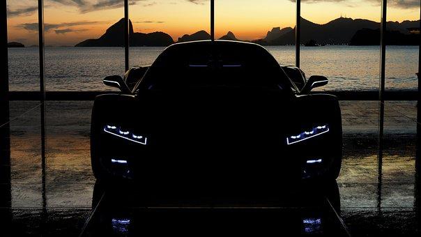 Car, Silhouette, Headlights, Luxury Car, Sports Car