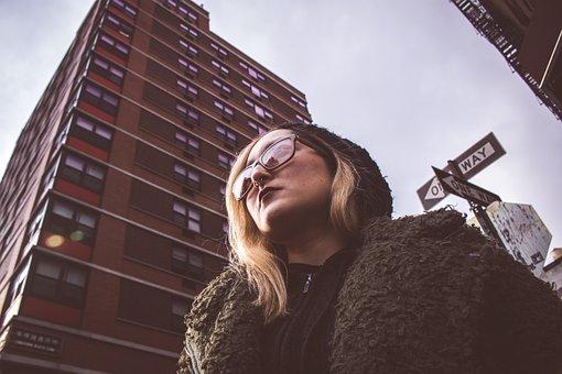 Woman, Model, Eyeglasses, Motivational, Positive