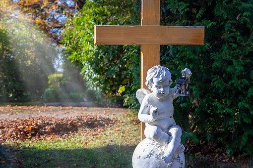 Angel, Statue, Sculpture, Cross, Grave, Cemetery, Death