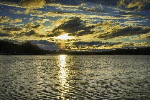 Sunset, Lake, Clouds, Sky, Sun, Dusk, Dawn, Cloudscape