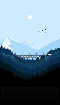 Mountains, Forests, Bridge, Trees, Birds
