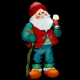 Gnome, Christmas Gnome, Vintage, Candle, Christmas