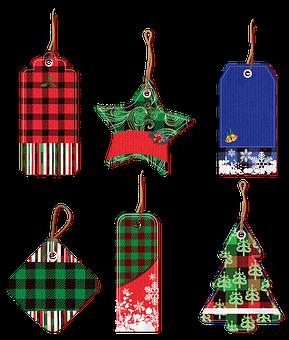 Tags, Labels, Christmas, Buffalo Plaid, Christmas Tree