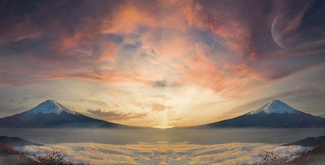 Mountains, Clouds, Sky, Moon, Sunset, Dusk, Twilight