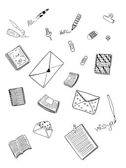 Book, Pencils, Envelope, Page, Clip, Cartoon, Art