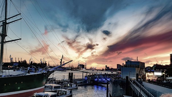 Port, Boats, Pier, Sunset, Sky, Twilight, Hamburg