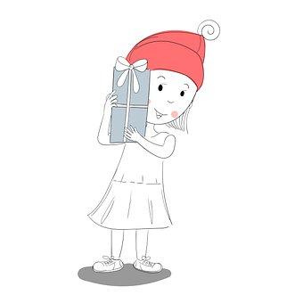 Girl, Present, Gift, Hat, Christmas, Celebration, Happy