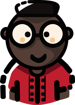 Mbe Style Art, Black Nerd With Glasses, Red Shirt