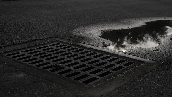 Sewer, Noir, Puddle, Street, Rain, Road, City