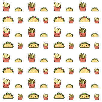 Fries, Taco, Pattern, Fast Food, Food, Seamless, Doodle