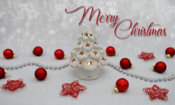 Merry Christmas, Tealight, Windlight, Fir Tree