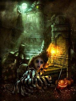 Halloween, Little Girl, Tomb, Ghost, Grave, Graveyard