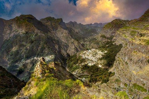 Mountains, Valley, Town, Peak, Summit, Cliff