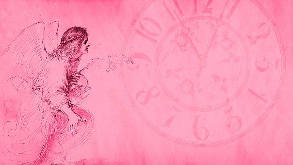 Angel, Clock, Wallpaper, Background, Pink, Scrapbook