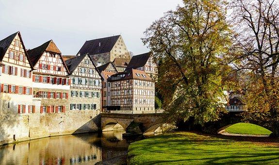 Fachwerkhaus, Houses, Bridge, River, Canal, Trees