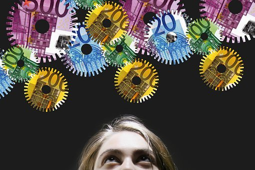 Woman, Gears, Money, Euro, Currency, Bank Notes