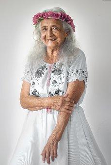 Grandmother, Woman, Elder, Flower Crown, Smile, Dress
