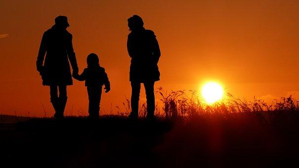 Women, Child, Sunset, Silhouette, Dusk, Twilight