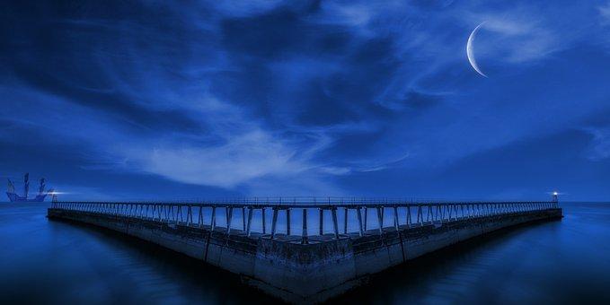 Pier, Port, Night, Dock, Ship, Moon, Evening, Dark