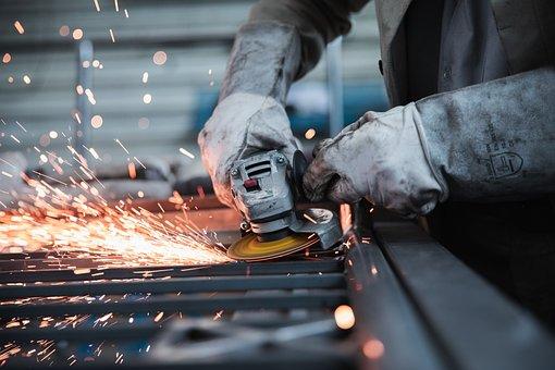 Worker, Grinder, Factory, Workplace, Workshop