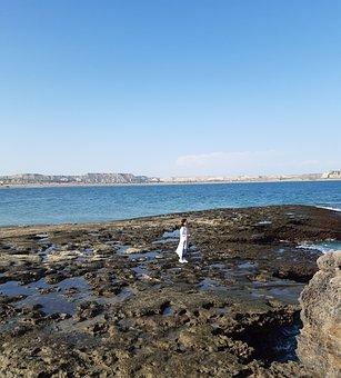 Sea, Coast, Girl, Alone, Woman, Tourist, Ocean