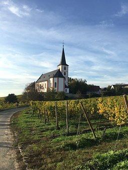 Vineyard, Church, Path, Lane, Building, Farm, Fence