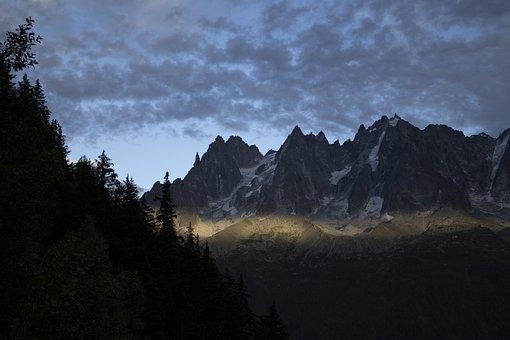 Alps, Mountainous, Summit, Peak, Trees, Forest