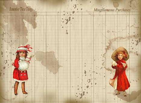 Christmas, Journal, Ledger Page, Red, Little Girl