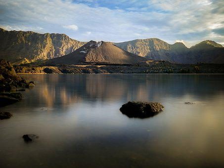 Volcano, Lake, Mountains, Water, Reflection