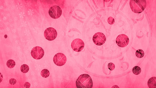 Bubbles, Circles, Clock, Time, Background, Scrapbook
